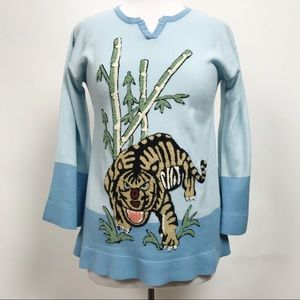 VTG Tiffany Manor Embroidered Long Sleeve Tiger